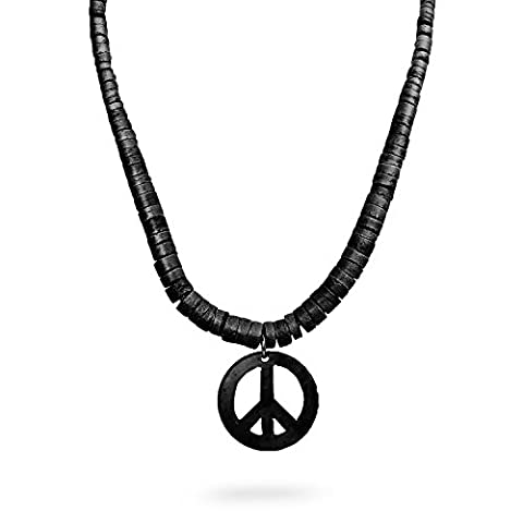 Peace Sign Symbol Coconut Shell Pendant w/ Natural Wood Beads Necklace - Black - Coconut Shell Pendant