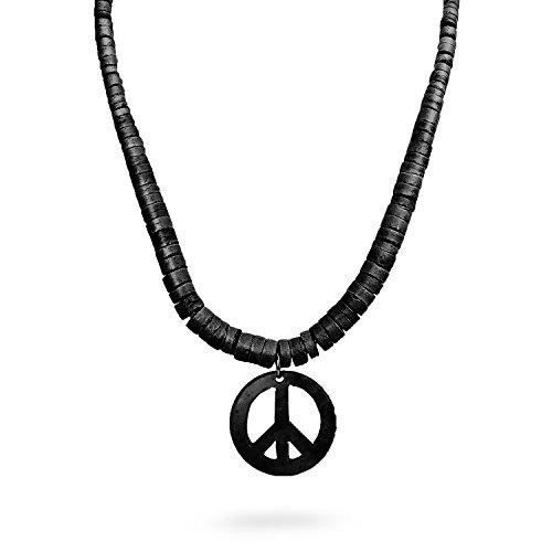 Peace Sign Symbol Coconut Shell Pendant w/ Natural Wood Beads Necklace - (Natural Shell Pendant Necklace)