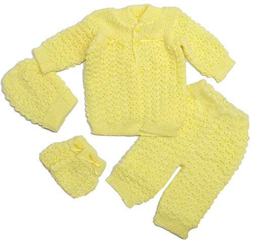 Abelito Baby's Four Piece Crochet Outfit Set One Size Yellow ()