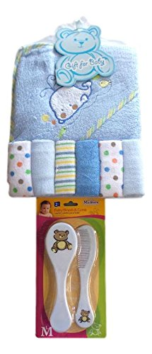 Baby Shower Bath-time Gift Set with Baby Brush, Comb and Pacifier (Blue with Pacifiers) from BM&M Products