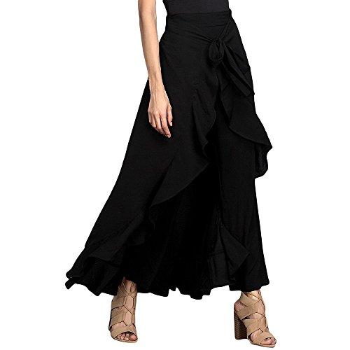 Lrud Women's Plain Ruffle Embellished Front Wide Leg Tie- Waist Maxi Long Palazzo Overlay Pant Skirts Black L