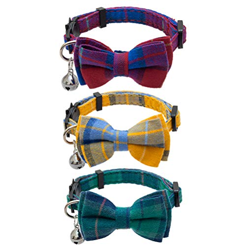 """EXPAWLORER Breakaway Cat Collar with Bell and Removable Bowtie - 3 Pcs Cute Plaid Adjustable Safety Collars for Kitty, Puppy, Small Dogs, Colors of Red, Green, Yellow, 8""""-12"""""""