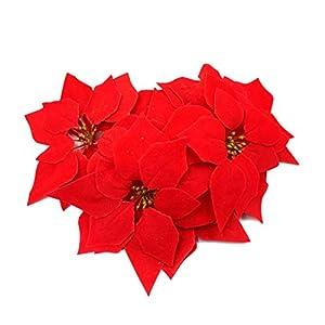 M2cbridge 24 Pcs Artificial Christmas Flowers Red Poinsettia Glitter Christmas Tree Ornaments 96