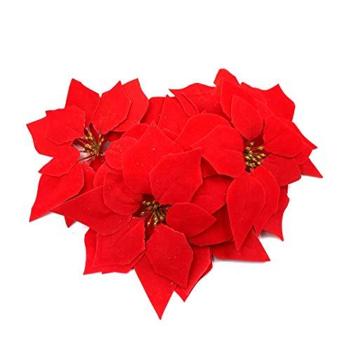 M2cbridge 24 Pcs Artificial Christmas Flowers Red Poinsettia Glitter Christmas Tree Ornaments