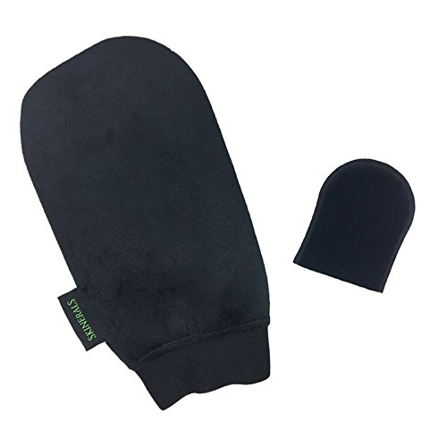 Skinerals Padded Microfiber Applicator Self Tanning Mitts With Snug No-Slip Elastic Wrist and Finger Face Mitt for use with Californium Sunless Tanner (Sunless Tanner Instant)