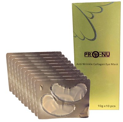 New Pro-Nu Anti-aging Collagen Eye Mask for Women and Men (10 Packs). Significantly Hydrate and Firm Your Eye Area treatment for Fine Lines, Wrinkles, Crows Feet, Eye Puffiness and Dark Circles.