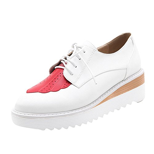 Carolbar Womens Lace-Up Fashion Assorted Colors Casual Oxfords Shoes White mhwnJ
