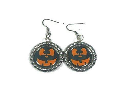 Pumpkin Face Halloween Bottlecap Earrings (Scary Halloween Pumkins)