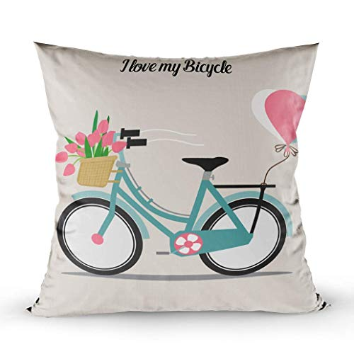 Throw Pillow Cushion Cover, Wedding Invitation Card Bicycle Basket Full Flowers Decorative Square Cotton Linen Pillow Case, 18 X 18 Inches ()