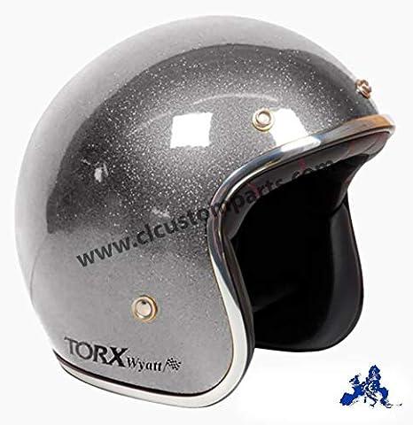 Helm Jet Vintage TORX Wyatt Glitter GRAU Antracite Flake Biker Custom XL Grigio Glitter