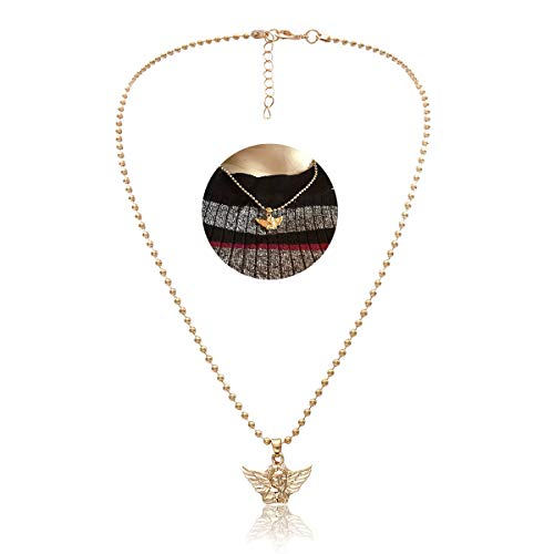 YOOE Cute Angel Baby Wings Pendant Necklace, Cupid Love God Bullet Chain Choker Necklace Infinity Guardian Infant Neutral Necklace (Gold)
