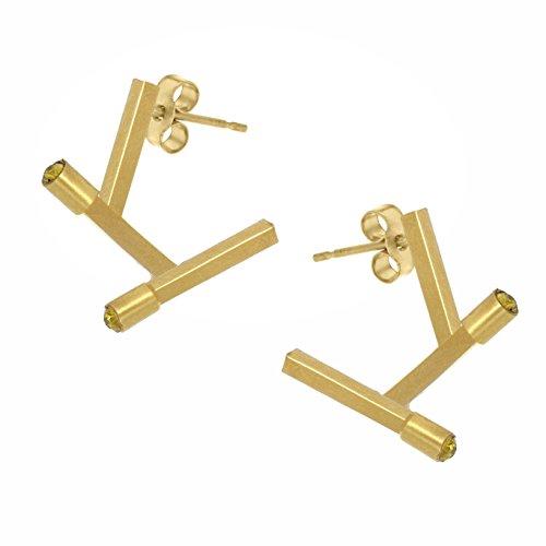 Charlotte Valkeniers - Boucles d'oreilles - Plaqué or - Cristal - Angle Earrings Gold