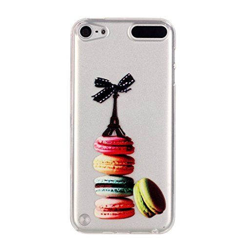 Happy Hours - Ultra Thin TPU Transparent Protective Back Case for Ipod Touch 5 6 / Art Pattern Cartoon Dress Gril Floral Flower Ice Cream Antiscratch Cover Shell with Feather Stylus(Ice Cream)