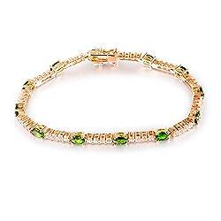 Genuine Green Garnet Tsavorite Diamond Bracelet