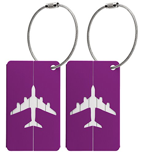 Flight Tags (2x Luggage Baggage Tags with Name and Address Label - Purple Metallic)