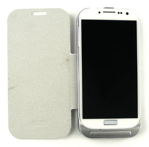 Emartbuy ® Samsung Galaxy S4 I9500 Powerbank Weiß Notfall Back-Up Batterie 3200Mah Wallet Mit Integriertem Ständer Viewing