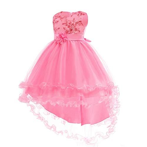 Girls Princess Cinderella Costume Dress Halloween Party Fancy Dress (Pink,130/8T)]()