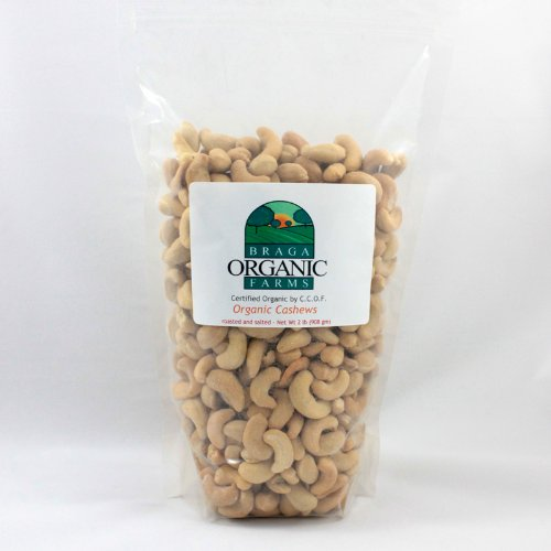 Braga Organic Farms Cashews, Roasted and Salted, 2 Pound