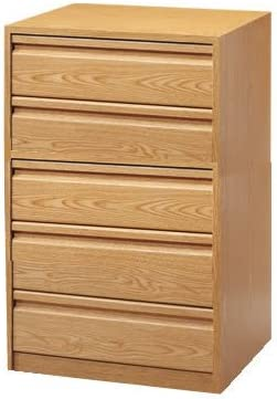 Cajonera para armario en 5 cajones Montada, dimensiones (100 ancho x 50 fondo x 90 de altura), color Haya D