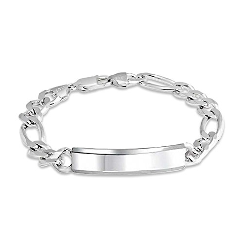 (Mens Figaro Link ID Bracelet Engravable 200 Gauge Heavy Polished 925 Sterling Silver Made In Italy)