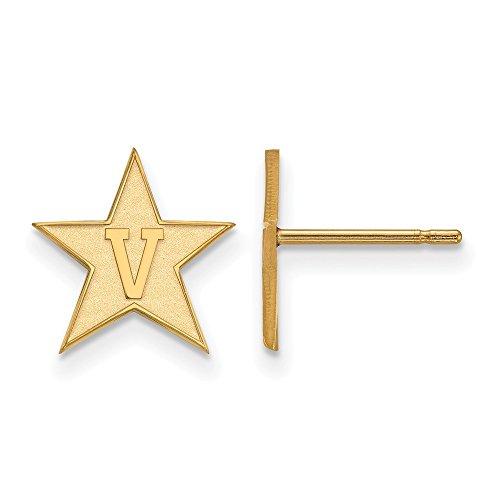 14k Yellow Gold LogoArt Official Licensed Collegiate Vanderbilt University (Vandy) Small Post Earrings by LogoArt