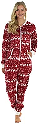 Frankie & Johnny Women's Adult Sleepwear Plush Fleece Non Footed Onesie