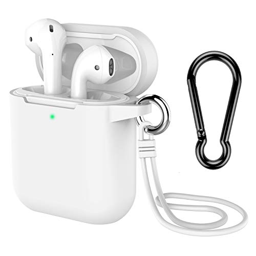 AirPods Case with Keychain, Coffea Silicone Protective Cover Skin with Stap for AirPods Charging Case 2 & 1 [Front LED Visible] (White)