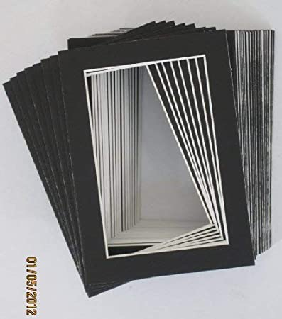 Backing Bags Pack of 10 5x7 Black Picture Mats Mattes with White Core Bevel Cut for 4x6 Photo Golden State Art Acid Free