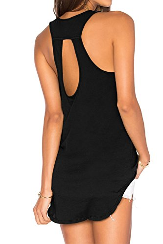 Loose Training Top - Duppoly Workout Tank Tops Training Shirts Loose Open Yoga Shirts Scoop Neck Cut Out Tops for Women Black XXL
