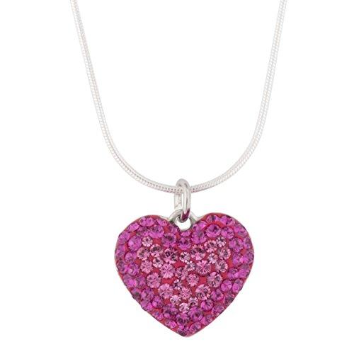 Pendant Necklace Swarovski Pave Heart on Sterling Silver Snake Chain 18