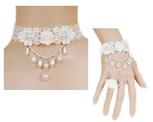 White Flower Necklace (Lefinis White Rose Flower Beads Victorian Lace Vampire Vintage Bracelet Ring, Necklace Set)