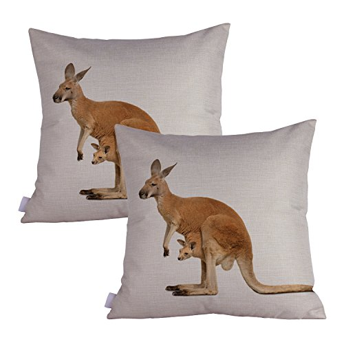 Queenie - 2 Pcs Wild Animals Decorative Pillowcase Cushion Cover for Sofa Throw Pillow Case 18 X 18 Inch 45 X 45 Cm, Set of 2 (Kangaroo)