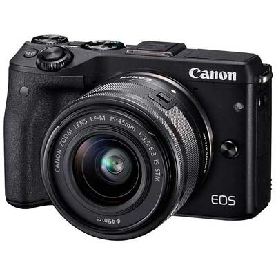 Canon EOS M3 24.2MP 1080P Wi-Fi Camera with EF-M 15-45mm IS STEM Lens (Black) (International Model No Warranty)