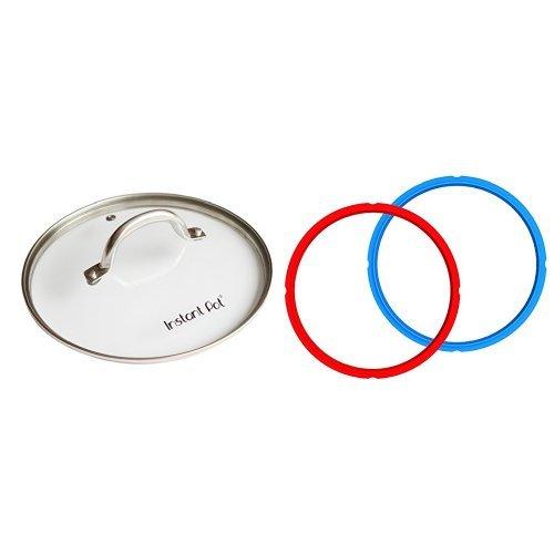 Instant Pot Tempered Glass lid – 9 in. (23 cm) - 6 Quart & Instant Pot Sealing Rings – 2-Pack, 6 Quart