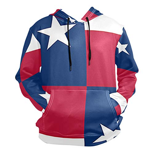 XiaoH Confederate Flag Men's Long Sleeve Drawstring Pullover Big Pockets Hooded Sweatshirt