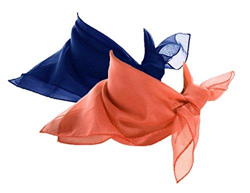 Coral & Royal Blue Scarf Set - 2 Sheer Chiffon 50s Style Scarves - Hey Viv Retro