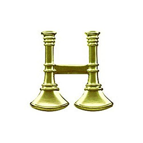 - First Class Fire Department Bugle Captain Rank Collar Lapel Pin Insignia (Pair) - Brass