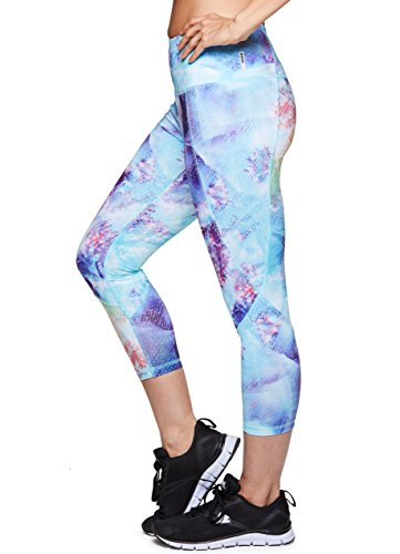 RBX Active Women's Floral Printed Workout Leggings Multi Floral Blue Spring M Microfiber Easy Control Pants