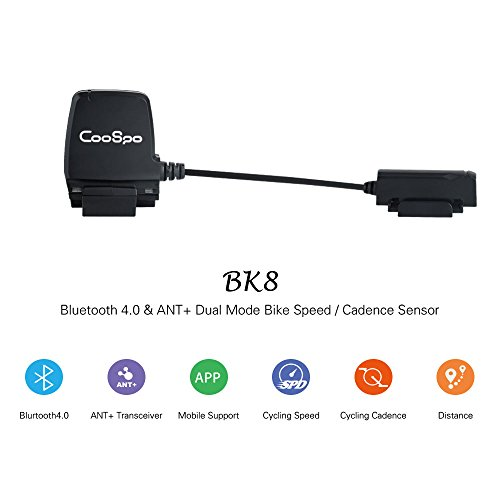 CooSpo Speed Cadence Sensor Bluetooth 4.0 & ANT+ Wireless Waterproof for iPhone Android and Bike Computers