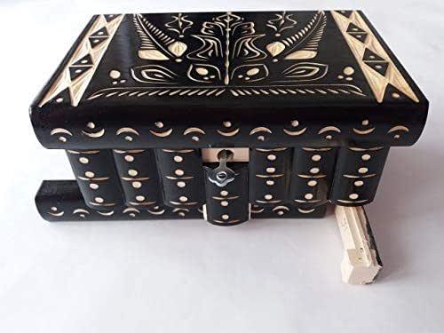 Caja puzzle nuevo grande negro caja de joyas talladas caja mágica misterio caja de madera rompecabezas caja secreta trinket complicado cajón de madera caja escondida