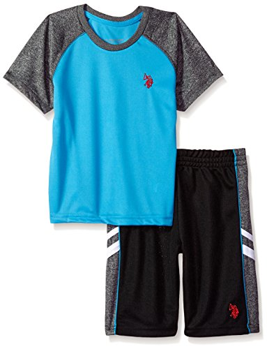 Sew Kids Boys Short - U.S. Polo Assn. Toddler Boys' T-Shirt and Mesh Short Set, Cut Sew Panel Outer Piping Turquoise, 4T