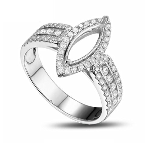 GOWE 4x11mm Marquise Shape Real 14k Gold Round Cut 0.66ct Diamond Semi Mount Ring Settings (Setting Semi Marquise Mount Ring)