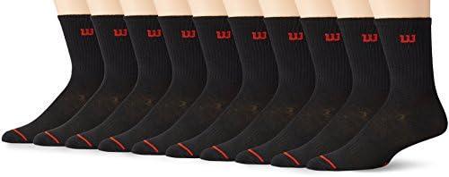 Wilson 8781 Calcetines para Hombre, color Negro, Talla Única (Paquete de 10 Piezas)