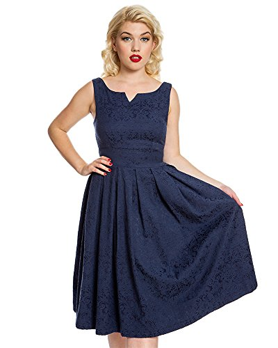 Lindy Bop Marianne' Navy Swing Dress and Jacket Twin Set - S (Brocade Zip Jacket)