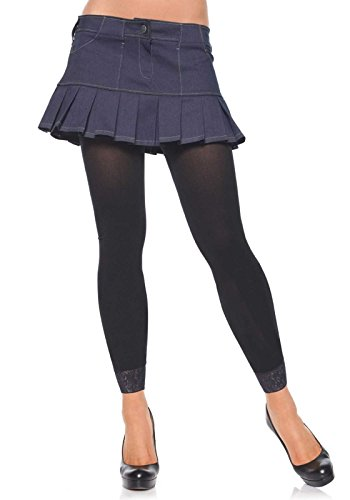 Leg Avenue Women's Opaque Footless Tights with Lace Trim, Black, One Size