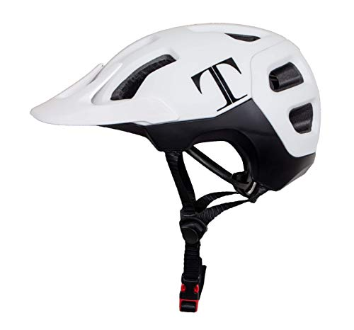 Tommaso Enduro MTB and Road Cycling Helmet Removable Visor, Adjustable Fit, 4 Colors Matte Black, White, Titanium, Yellow, Fully Certified Safety Protection - White