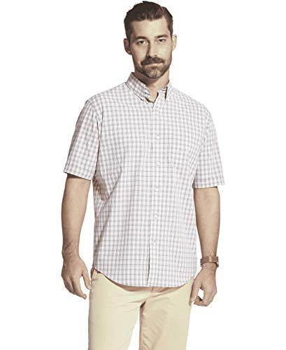 Arrow 1851 Men's Hamilton Poplins Short Sleeve Button Down Plaid Shirt, Shark Skin, Medium