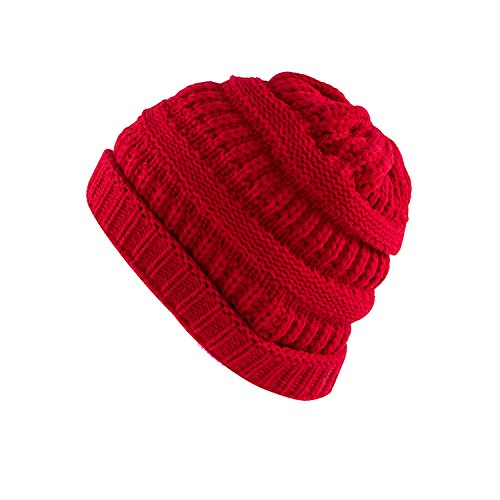 Super Z Outlet Knit Sew Outdoor Low Slouch Thermal Ski Beanie Headgear for Snowboard, Cycling, Sports, Cold Weather Protection (Red) ()