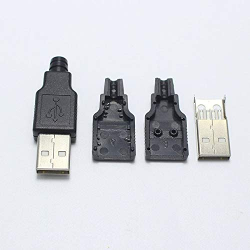 5sets Fast Charger USB Plug 2.0 Type A Male USB Connector for Cellphones MP3 Players White Black DIY Parts 3 Balck 2 White