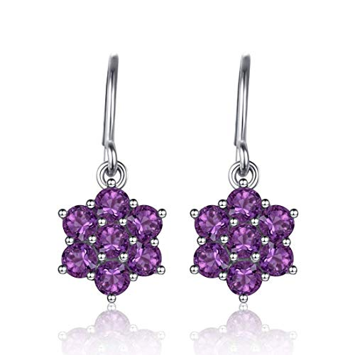 Flower Dangle Amethyst - 2.9Ct Purple Amethyst Flower Drop Dangle Earrings Hook Ear for Women